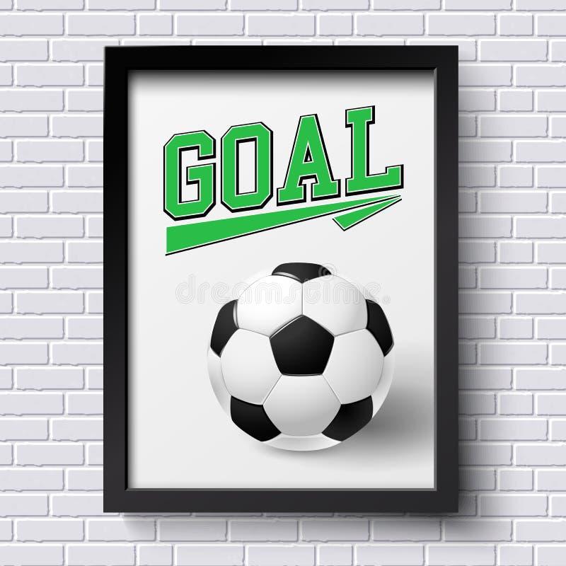 Affiche abstraite du football Cadre d'image sur le mur de briques blanc avec le foo illustration stock