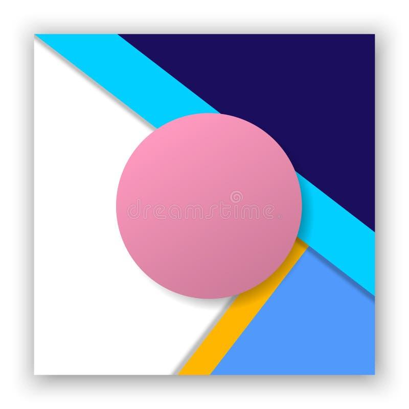 Affiche abstraite moderne colorée avec la conception matérielle, formes géométriques, triangle, cercle, rayure sur le fond blanc illustration de vecteur