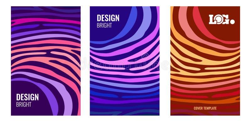 Affiche abstraite verticale lumineuse réglée Bandes de couleur sur le contexte foncé Fond moderne pour la conception de couvertur illustration de vecteur