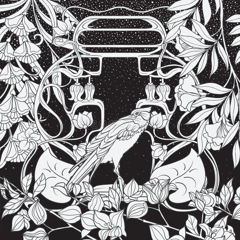 Affiche, achtergrond met decoratieve bloemen en vogel in Jugendstilstijl Zwart-witte grafiek N royalty-vrije illustratie