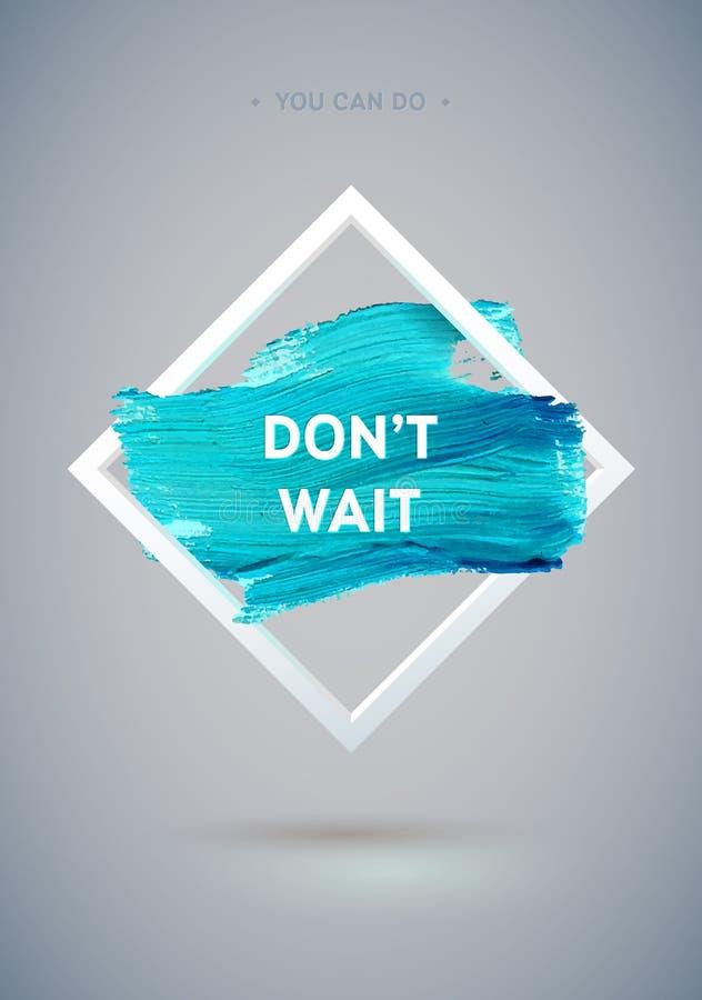 Affiche acrylique de course de losange de motivation Courses de brosse d'encre avec les bords approximatifs Lettrage des textes d illustration libre de droits