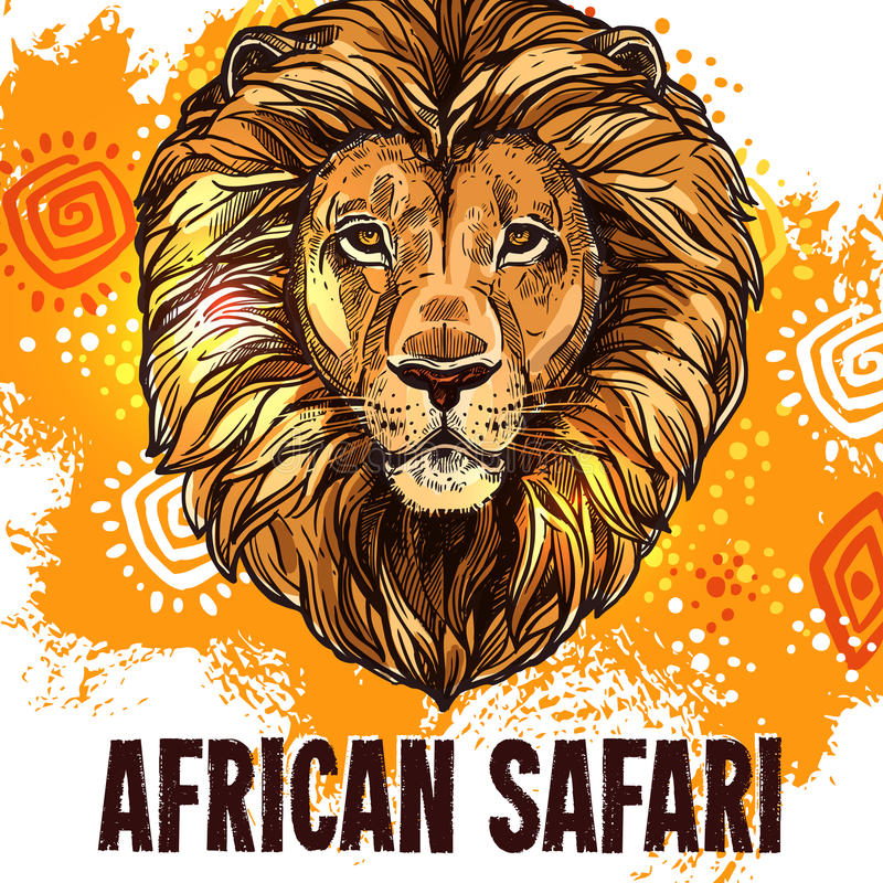 Affiche africaine de vecteur de chasse de safari d'affiche de lion illustration de vecteur