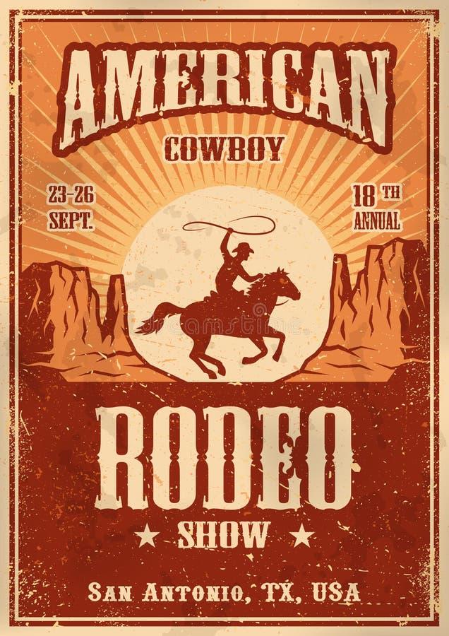 Affiche américaine de rodéo de cowboy illustration stock