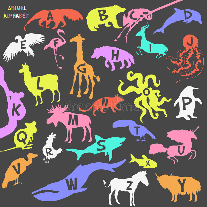 Affiche animale d'alphabet pour des enfants animaux illustration stock