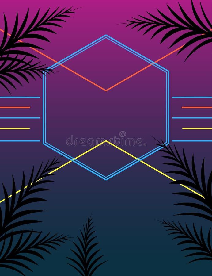 Affiche au néon de partie d'été de style illustration libre de droits