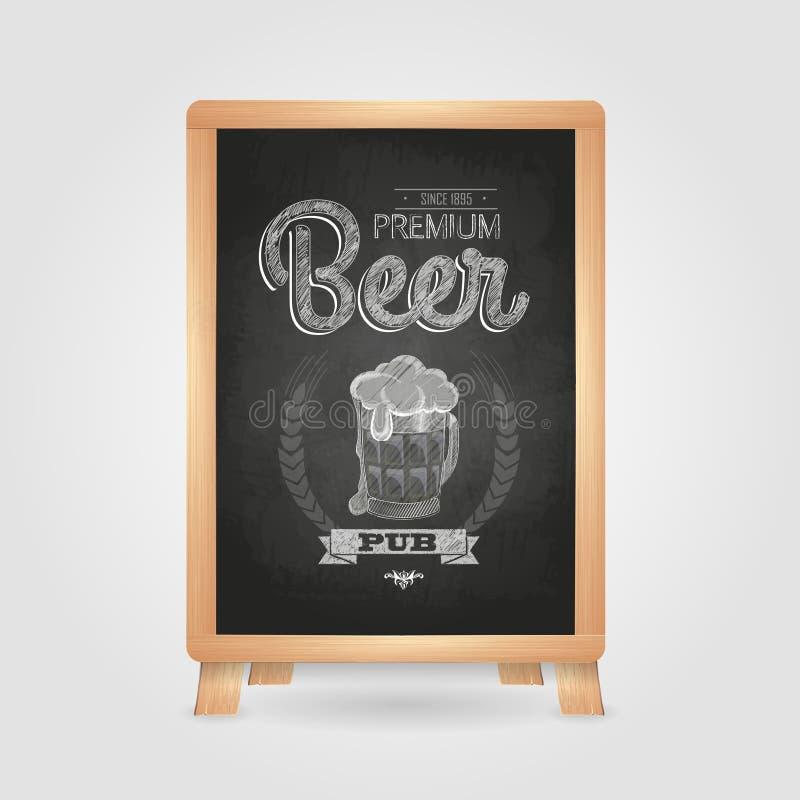 Affiche avec de la bière dans le magnétique Dessin de craie sur le tableau noir illustration de vecteur