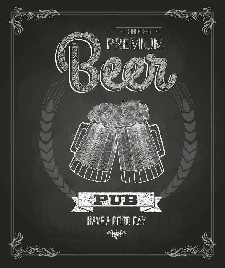 Affiche avec de la bière Dessin de craie illustration de vecteur