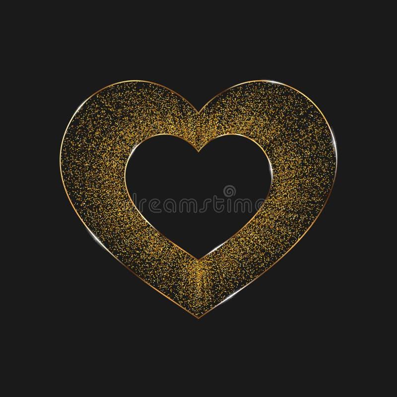 Affiche avec des coeurs des confettis d'or, étincelles, scintillement d'or d'isolement sur un fond noir illustration stock