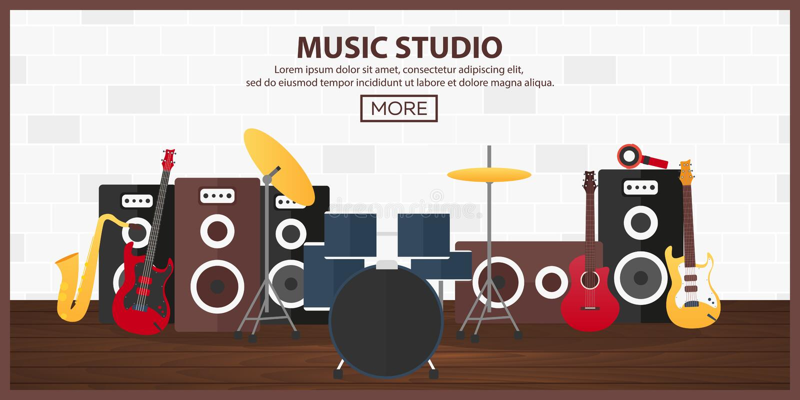 Affiche avec des instruments de musique Studio de musique Guitare Conception plate illustration de vecteur
