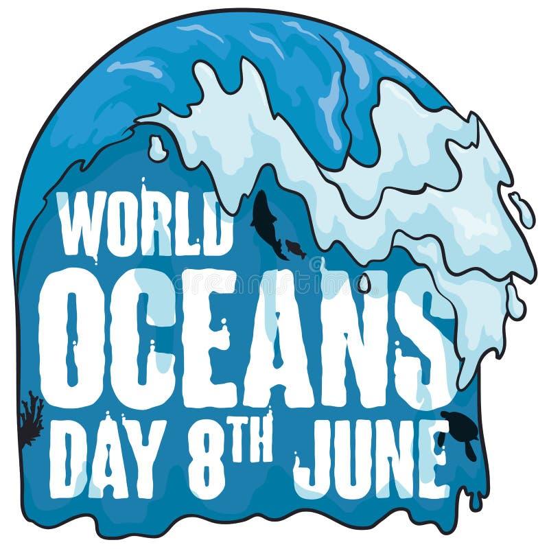 Affiche avec la conception aqueuse pour la célébration de jour d'océans du monde, illustration de vecteur illustration de vecteur