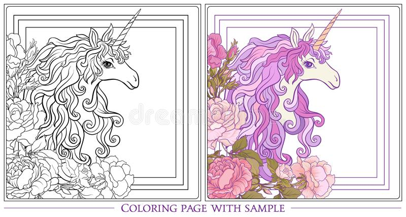 Affiche avec la licorne, un bouquet des roses et papillons sur W illustration de vecteur