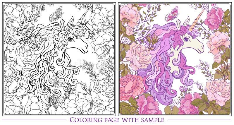 Affiche avec la licorne, un bouquet des roses et papillons sur W illustration libre de droits