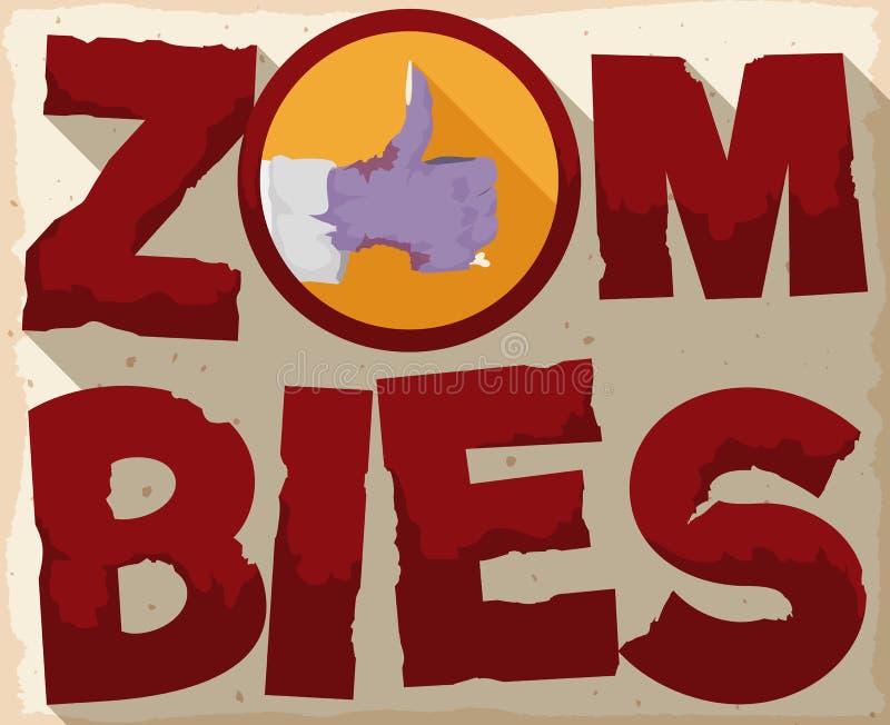 Affiche avec la main et le pouce de zombi vers le haut du geste, illustration de vecteur illustration de vecteur