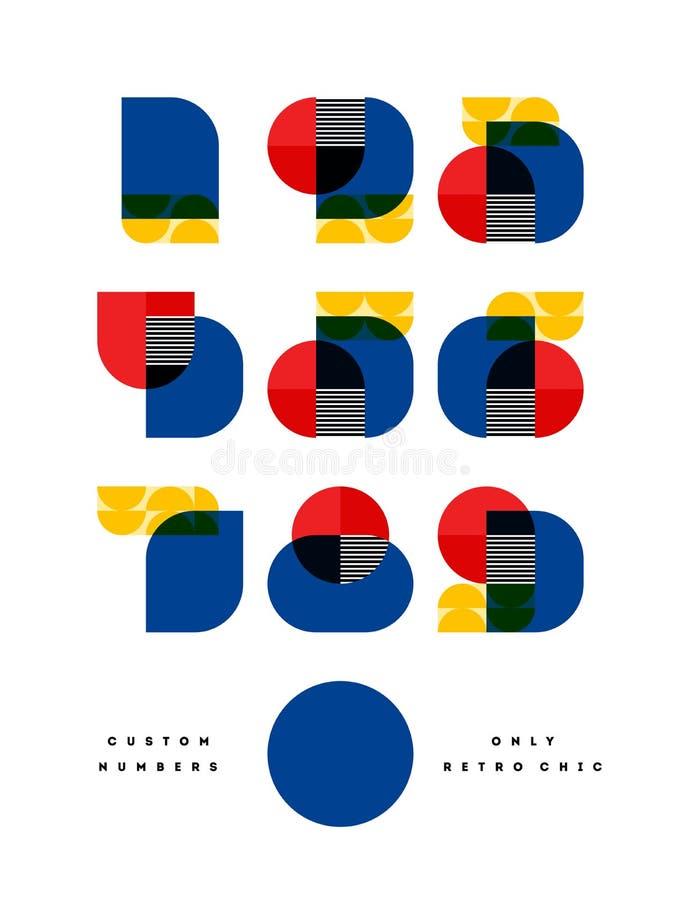 Affiche avec la seule rétro police chic élégante des nombres dans le style de Bauhaus Les symboles numéraux modernes multiplient  illustration de vecteur