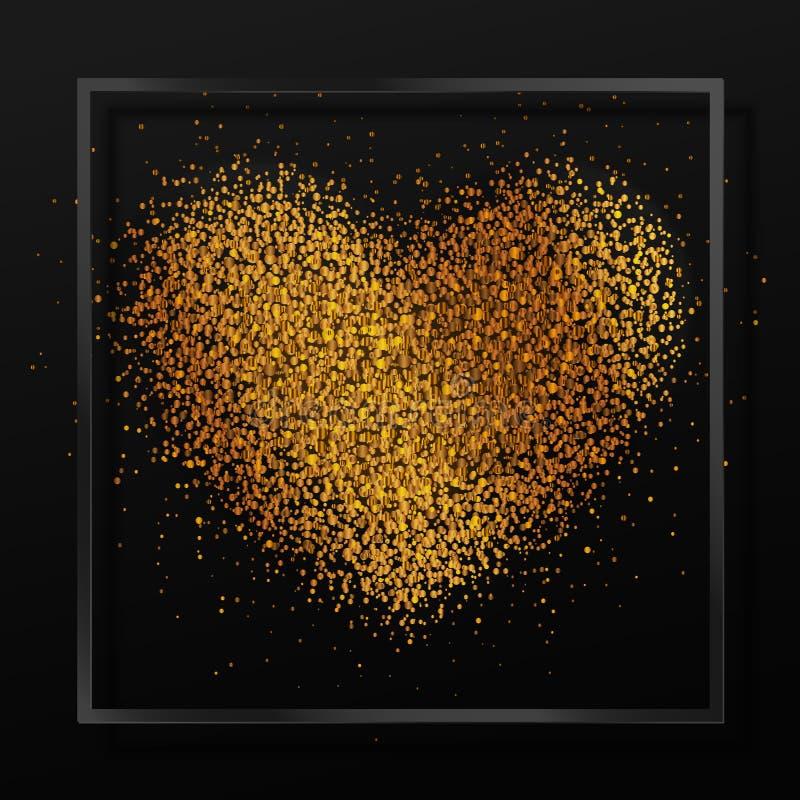 Affiche avec le coeur de la poussière d'or, confettis, étincelles, scintillement d'or dans le cadre en verre noir, frontière sur  illustration libre de droits