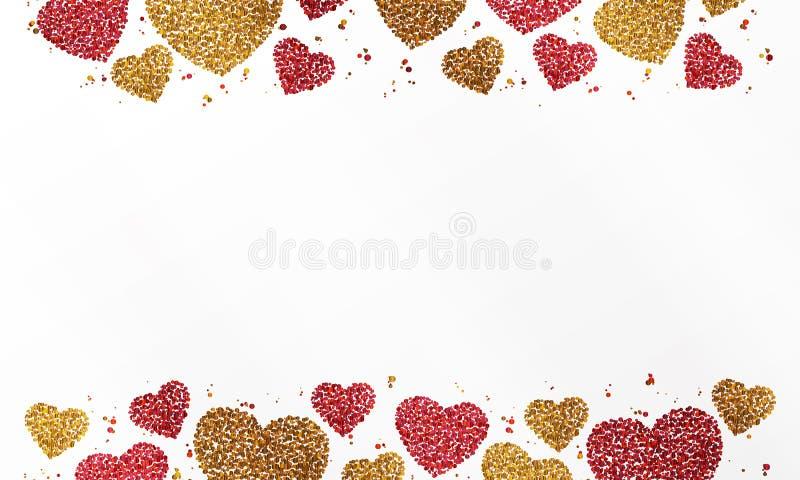 Affiche avec le coeur du rouge et les confettis d'or, les étincelles, le scintillement et l'espace pour le texte sur le fond blan illustration libre de droits