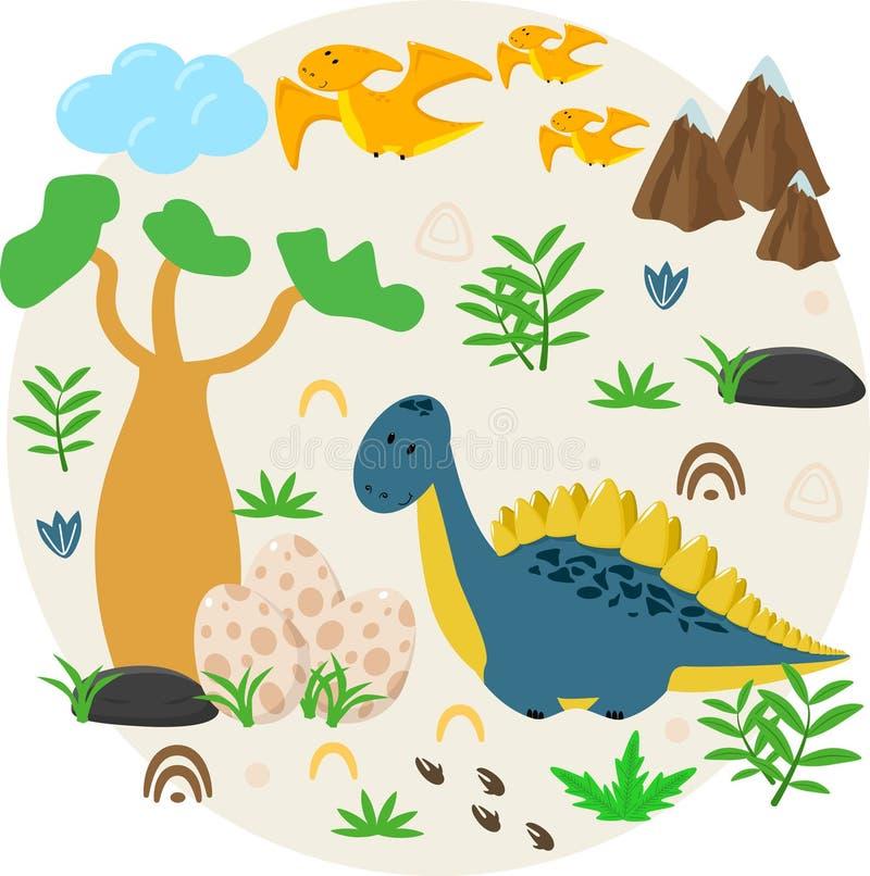 Affiche avec le dinosaure et les oeufs - illustration de vecteur, ENV illustration stock
