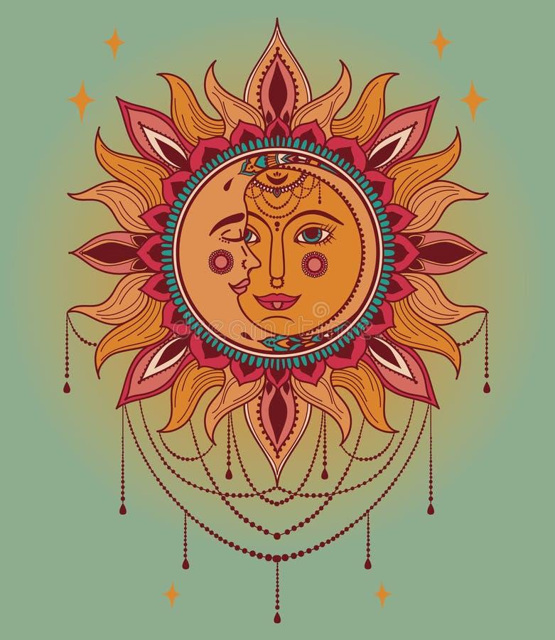 Affiche avec le soleil et visages et bijoux de lune illustration de vecteur