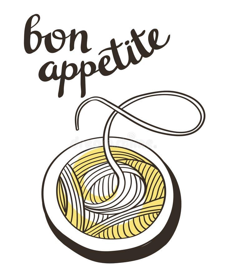 Affiche avec le spagetti de vecteur Illustration tirée par la main illustration stock