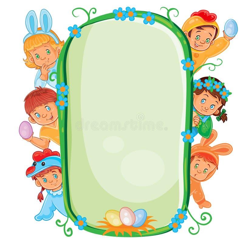 Affiche avec les enfants en bas âge dans des costumes de Pâques illustration libre de droits