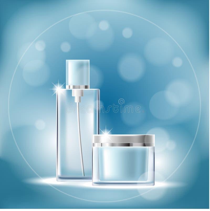 Affiche avec les récipients cosmétiques transparents sur un fond bleu avec l'effet de bokeh illustration de vecteur