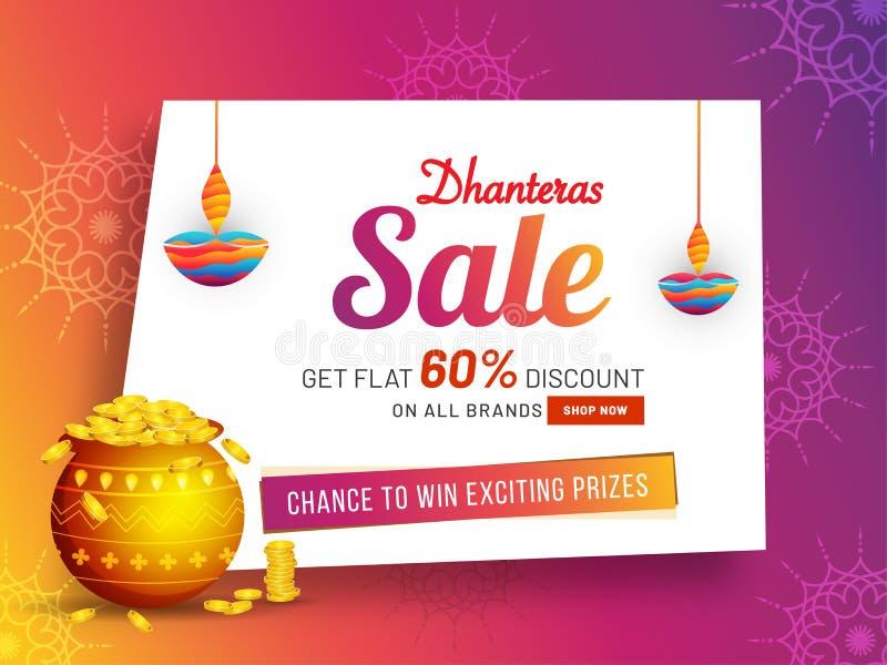 Affiche of banner het ontwerp krijgt vlakke 60% korting op Dhanteras-festi stock illustratie
