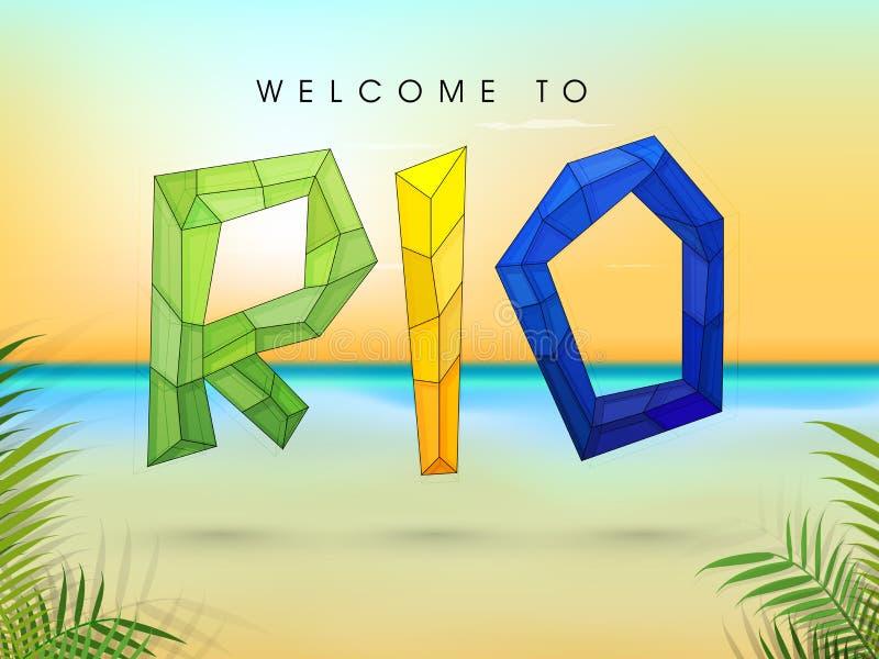 Affiche, Banner met Modieuze Veelhoekige Teksten Rio stock illustratie