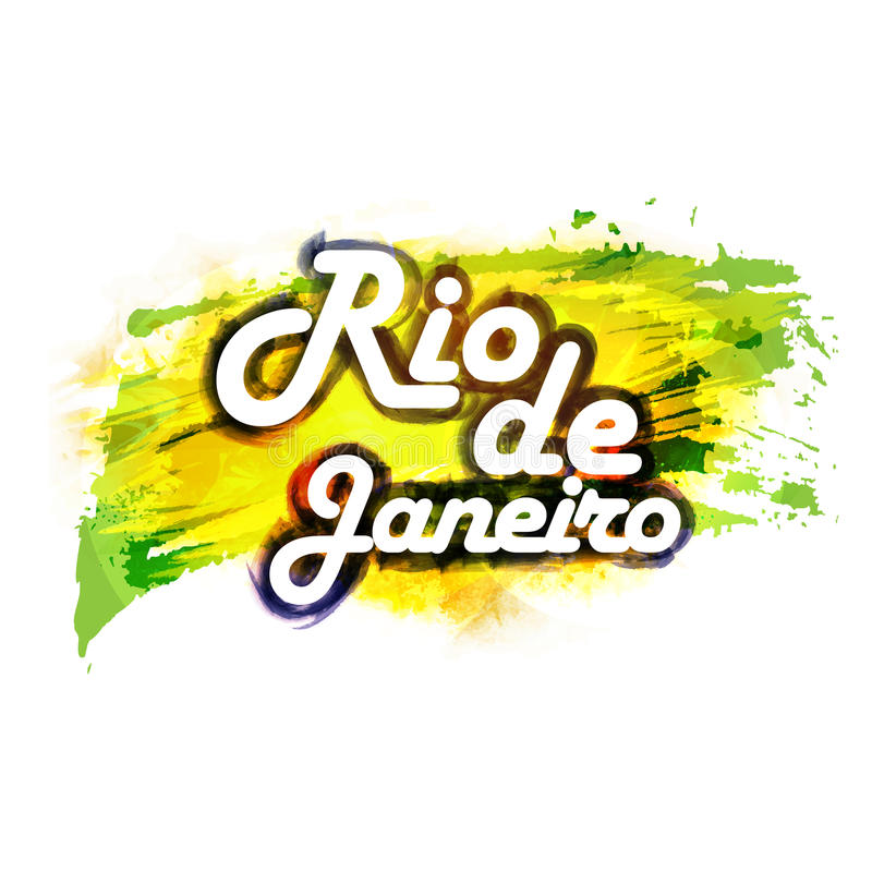 Affiche, Banner met tekst Rio De Janeiro vector illustratie