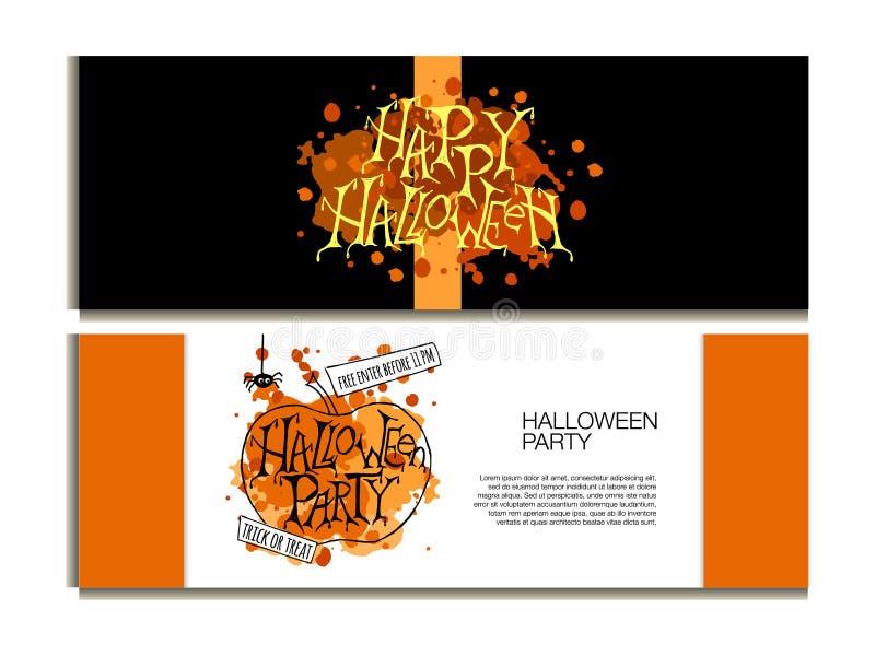 Affiche, bannière ou fond pour la nuit de partie de Halloween illustration libre de droits