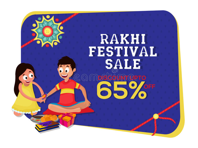 Affiche, bannière ou insecte de vente pour Rakhi Festival illustration de vecteur