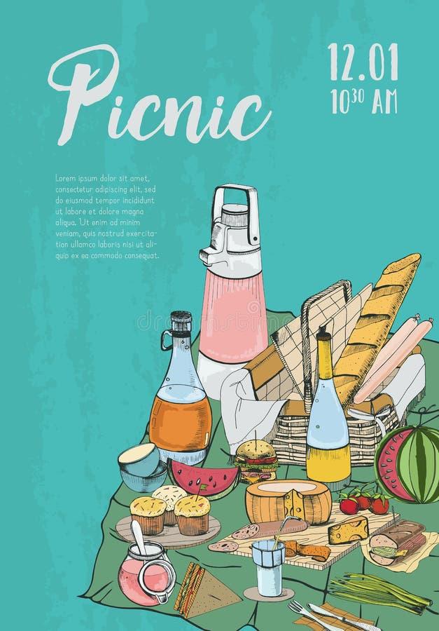 Affiche, bannière, plaquette au pique-nique avec l'endroit pour le texte et nourriture Événement, illustration de vecteur de fest illustration stock