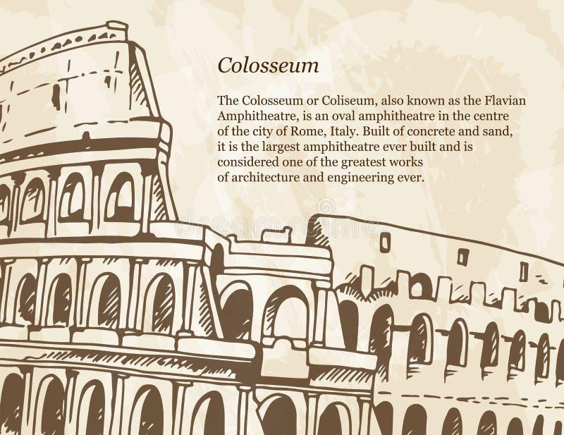 Affiche beige avec l'illustration tirée par la main du Colisé Colosseum dans le style de cru illustration stock