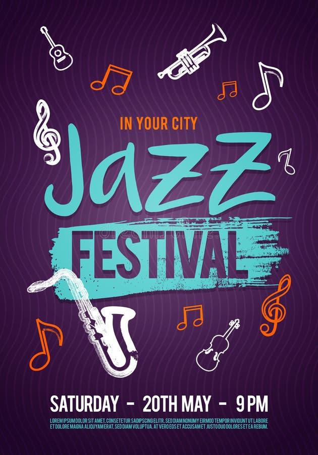 Affiche, billet ou programme de musique de jazz d'illustration de vecteur Tiré par la main avec des courses de brosse pour le fes illustration libre de droits