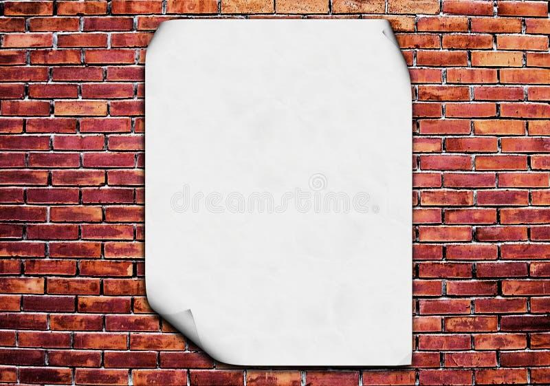 Affiche blanc sur le mur de briques illustration de vecteur