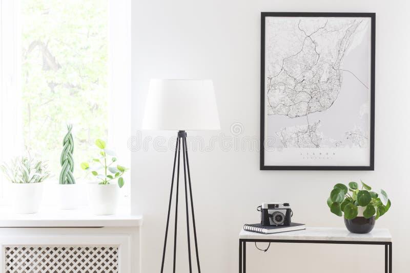 Affiche boven lijst met camera en installatie naast lamp in het leven royalty-vrije stock fotografie
