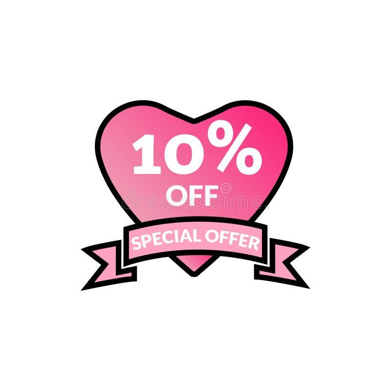 Affiche brillante de vente de promotion de remise d'offre de remise de 10%, banni?re, annonces Valentine Day Sale, ?tiquette de r illustration de vecteur