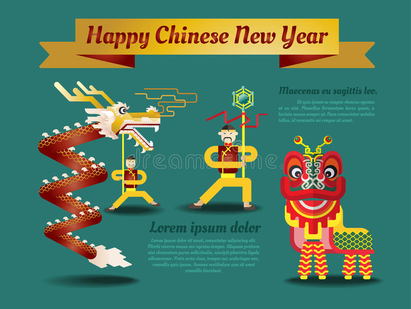 Affiche chinoise de nouvelle année et carte de voeux illustration libre de droits