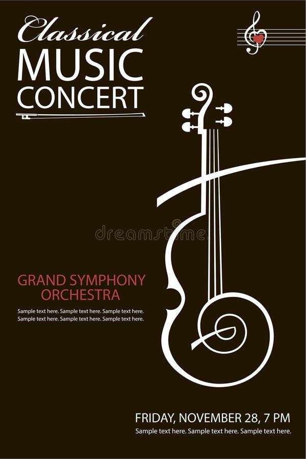 Affiche classique de concert illustration stock