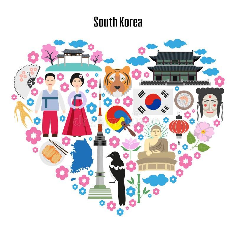 Affiche colorée avec des symboles de la Corée du Sud illustration de vecteur