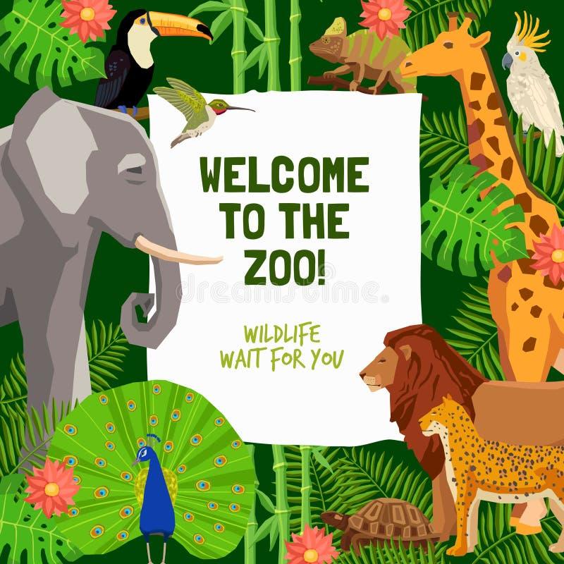 Affiche colorée avec l'invitation de visiter le zoo illustration de vecteur