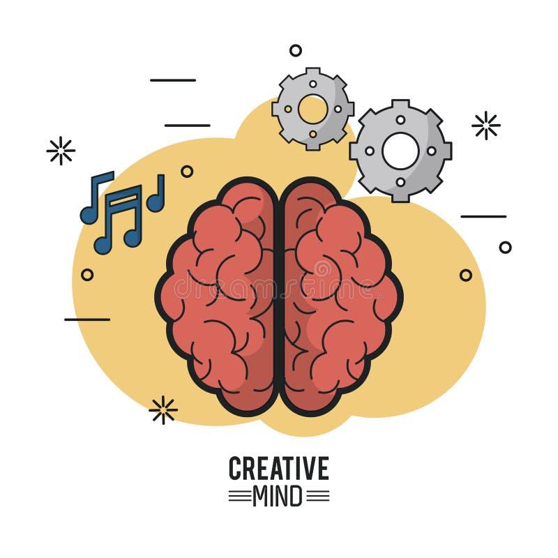 Affiche colorée d'esprit créatif avec la vue supérieure de cerveau de ses deux hémisphères et icônes des pignons et des notes mus illustration stock