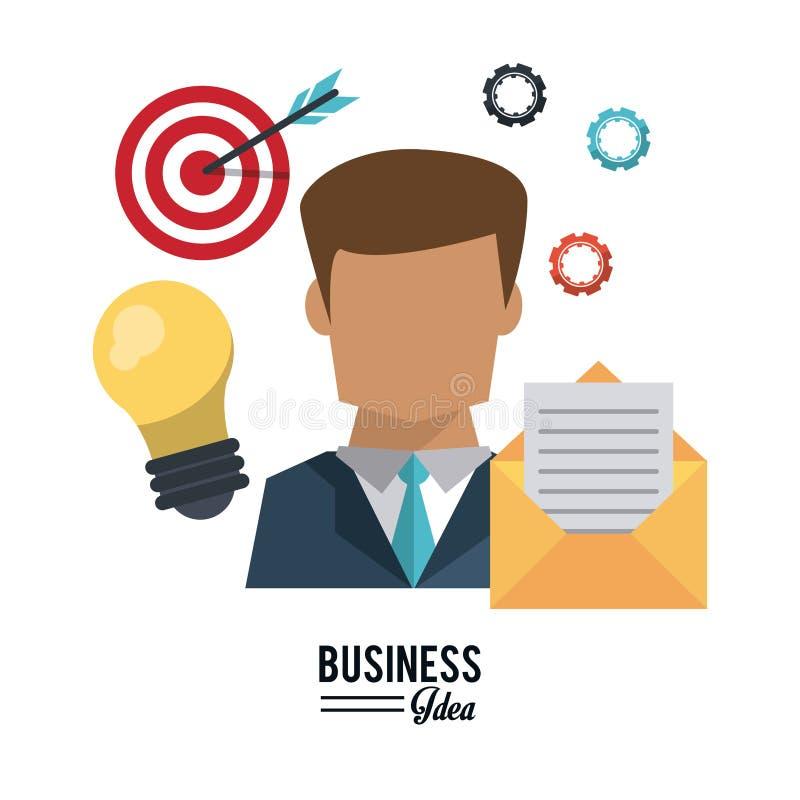 Affiche colorée de demi homme d'affaires de corps avec l'ampoule et le courrier et les pignons et cible avec la flèche illustration stock