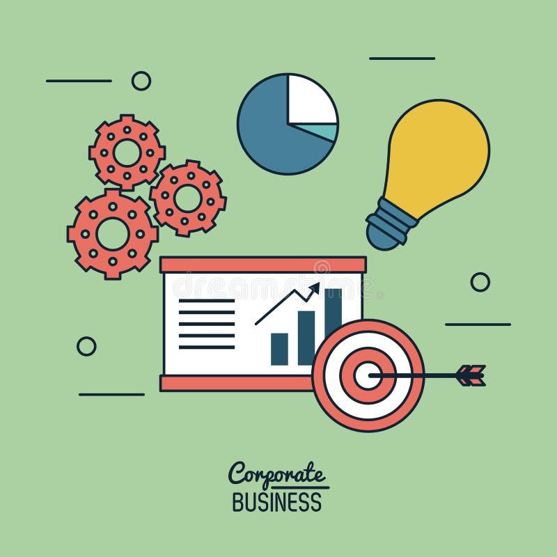 Affiche colorée de fond d'entreprise constituée en société avec le graphique et la cible et les pignons croissants économiques et illustration de vecteur