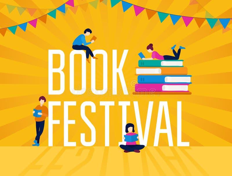 Affiche colorée de la fête du livre avec une guirlande festive illustration stock