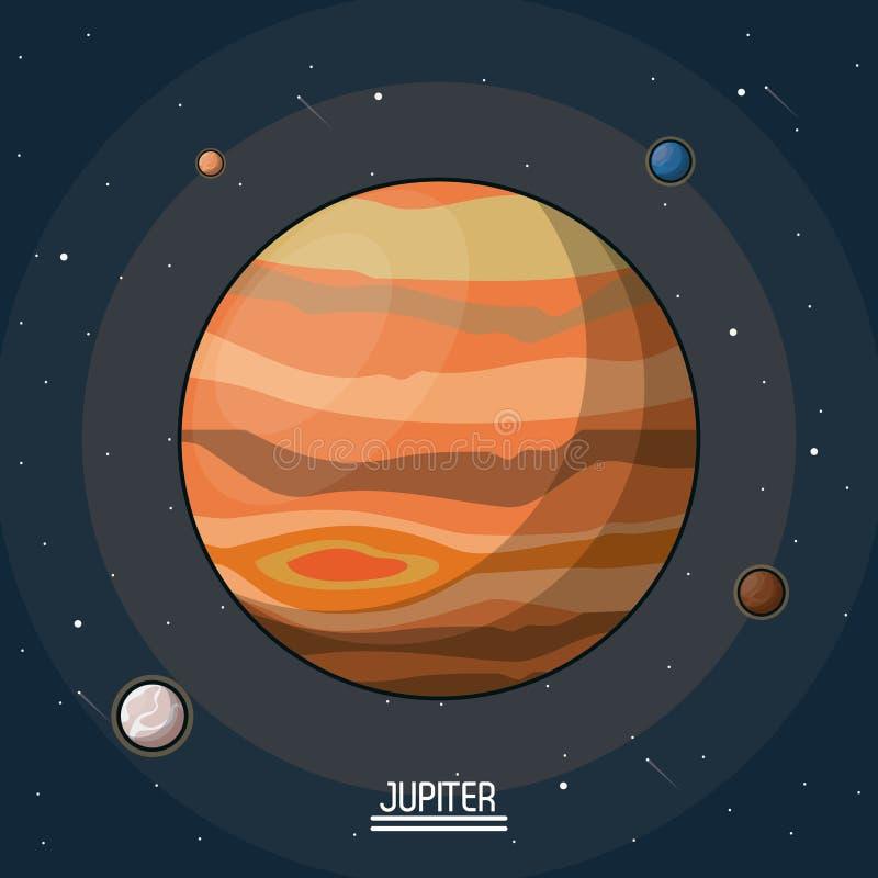 Affiche colorée de la planète Jupiter dans l'espace avec des lunes autour illustration de vecteur