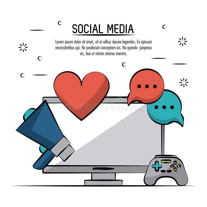 Affiche colorée de media social avec l'ordinateur de bureau et les icônes mégaphone et coeur et bulles et contrôleur de la parole illustration libre de droits