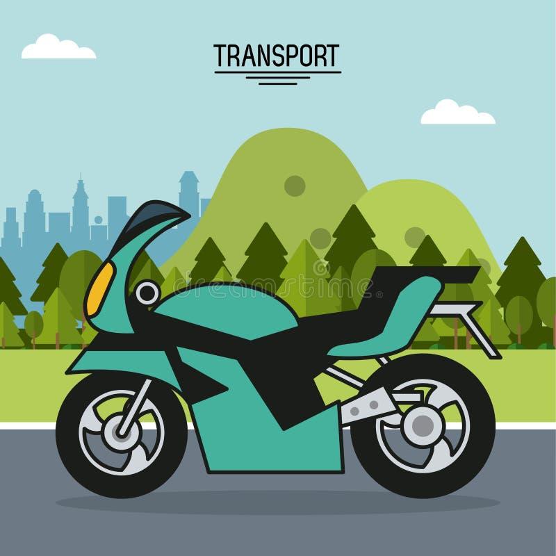 Affiche colorée de transport avec la moto dans le paysage extérieur illustration libre de droits