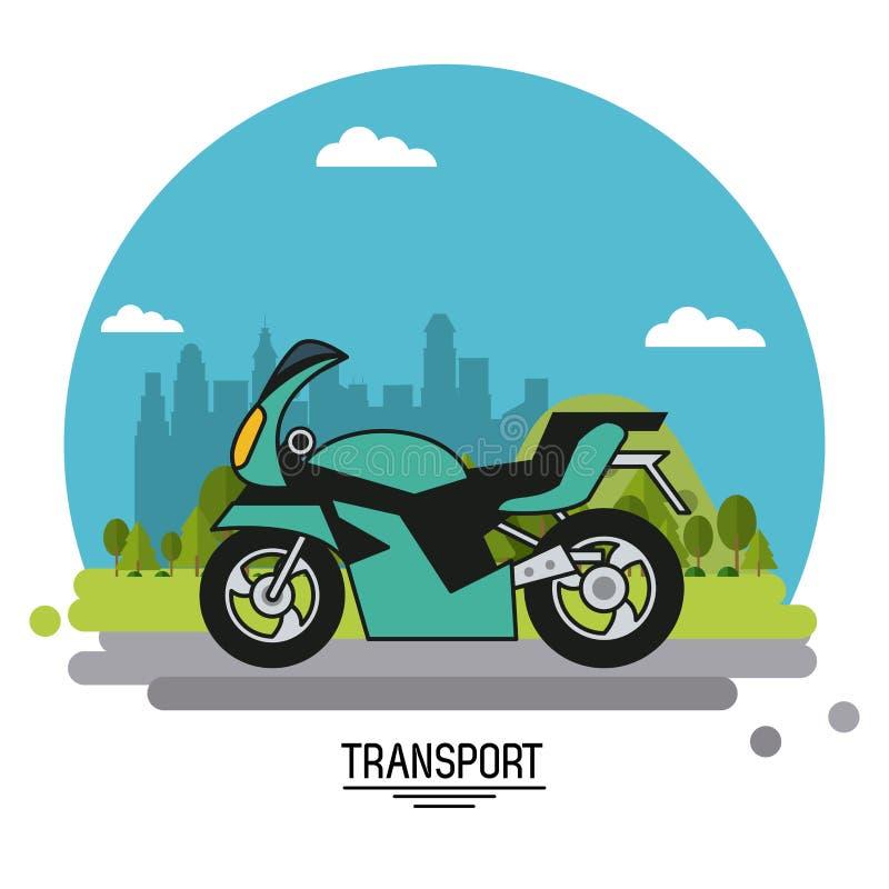 Affiche colorée de transport avec la moto sur des périphéries de fond de la ville dans la forme de la sphère illustration de vecteur