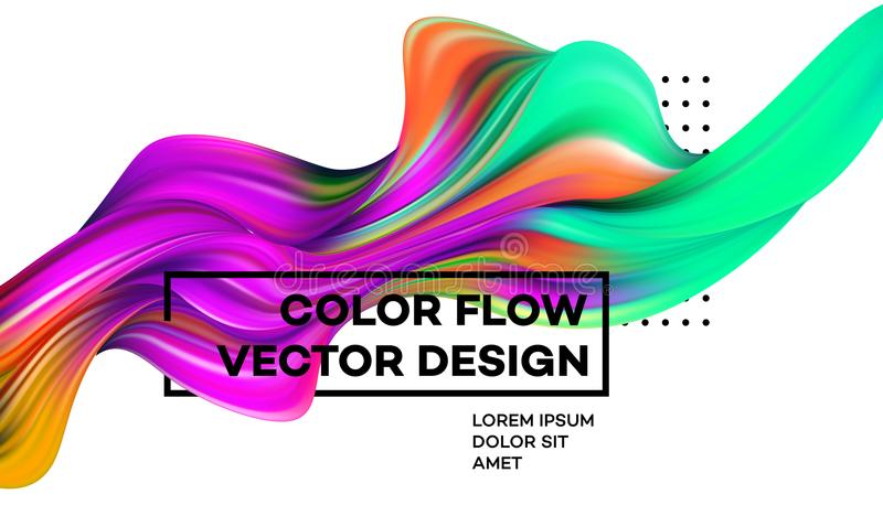 Affiche colorée moderne d'écoulement Forme liquide de vague à l'arrière-plan blanc de couleur Conception d'art pour votre projet  illustration libre de droits