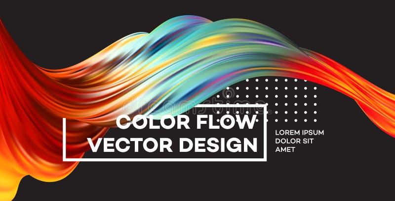 Affiche colorée moderne d'écoulement Forme liquide de vague à l'arrière-plan noir de couleur Conception d'art pour votre projet d illustration de vecteur